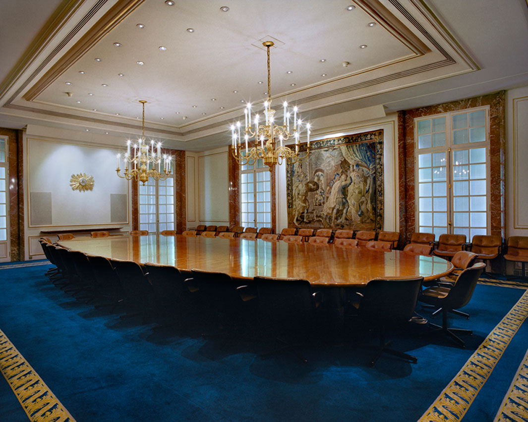 The meeting table of the Board of Directors of BNP Paribas Paris